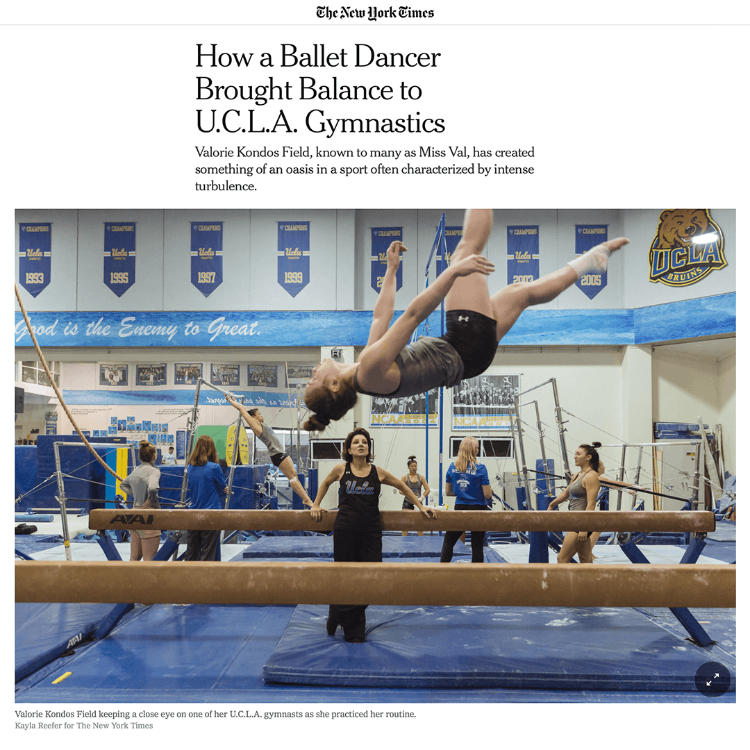 NY Times - How a Ballet Dancer Brought Balance to UCLA Gymanstics